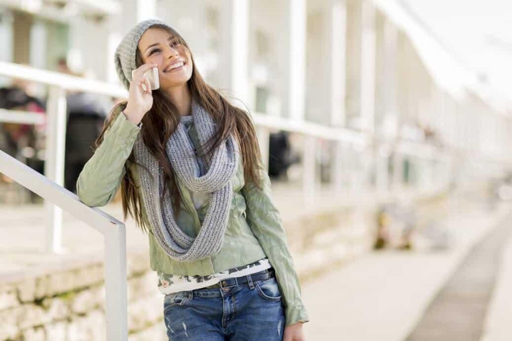 Transgender woman on the phone