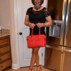 Can you wear red heels with an LBD if your purse matches your heels?