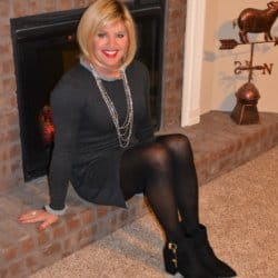 Long Sleeved Wool Dresses, Tights, and Ankle Booties Are Warm and Comfy!