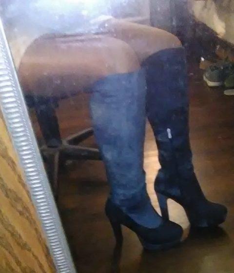 Denim Knee boots