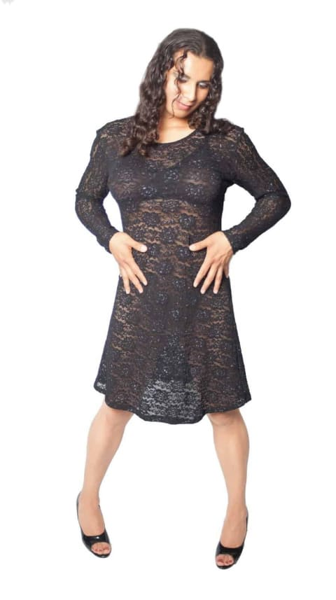 Long Sleeve Lace A-Line Dress