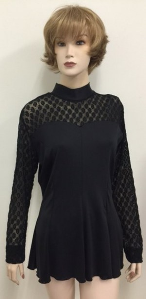 Lace Top Flair Blouse Black