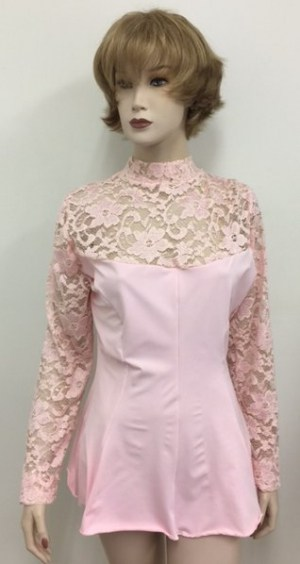 Lace Top Flair Blouse Pink