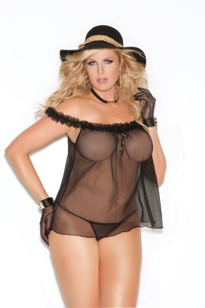 Sheer Black Pinup Babydoll